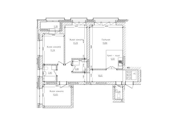Планировки Жилой комплекс КРАСНЫЙ ПРОСПЕКТ, дом 2 - 4-комнатная 86 кв.м