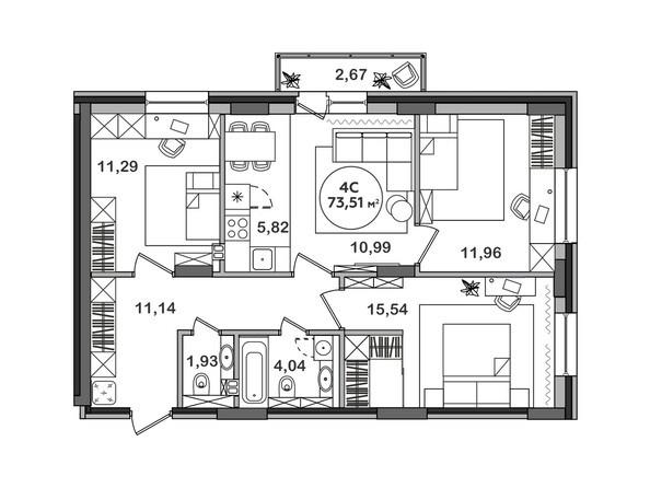 Планировка 4-комн 73,51 м²