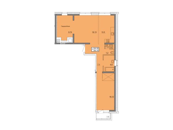 2-комнатная 68,19 кв.м