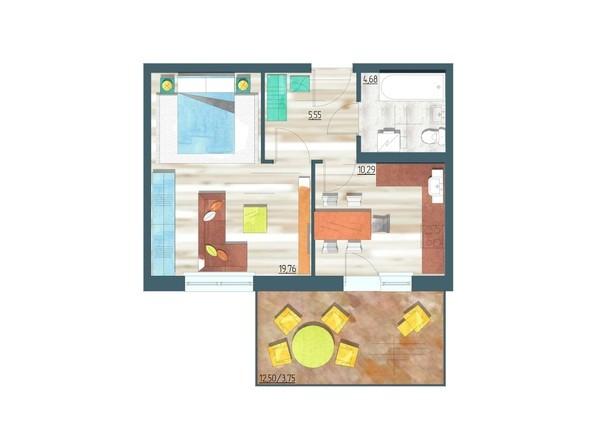 Планировки Жилой комплекс ЖИВЁМ эко-район, 10 квартал, дом 1 - Планировка однокомнатной квартиры 44,03 кв.м
