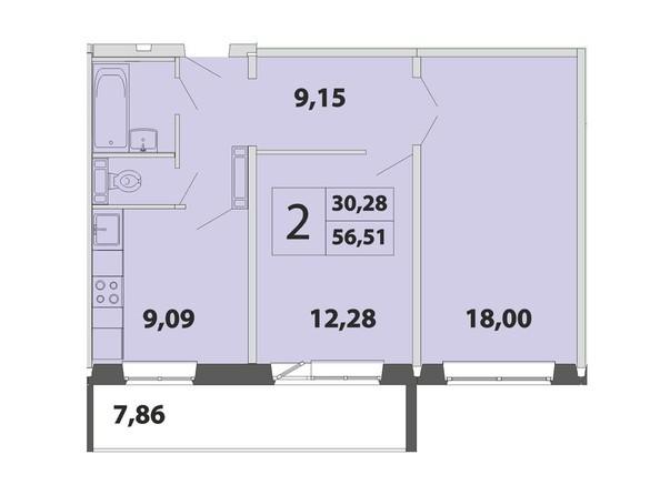 2-комнатная 56.51 кв.м