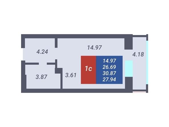 Планировка Студия 26,69, 26,9 м²