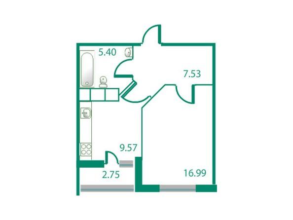 Планировки Жилой комплекс ИЗУМРУДНЫЙ БЕРЕГ, дом 1.2  - Планировка однокомнатной квартиры 40,87 кв.м