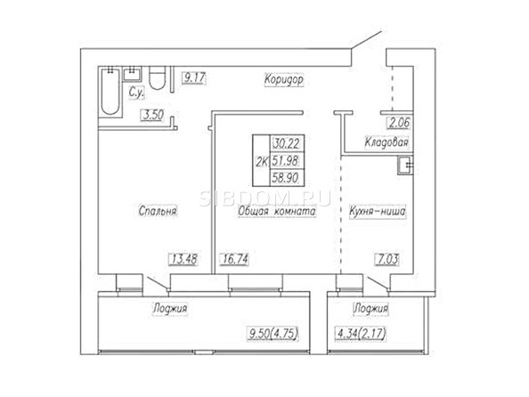 Планировка 2-комн 58,9, 58,9 м²