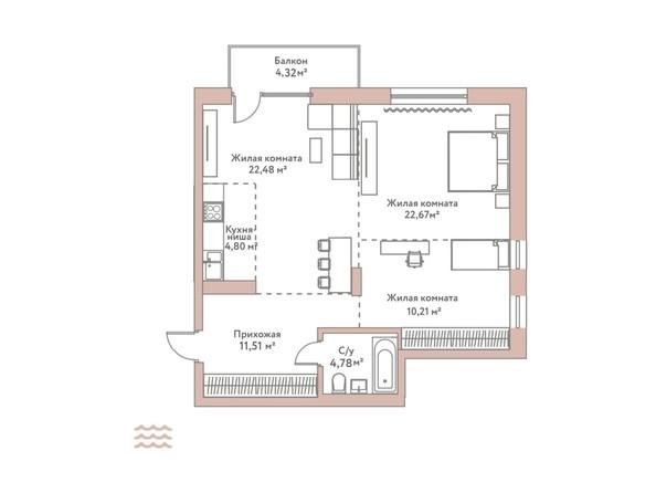 Планировка 3-комн 76,45 м²