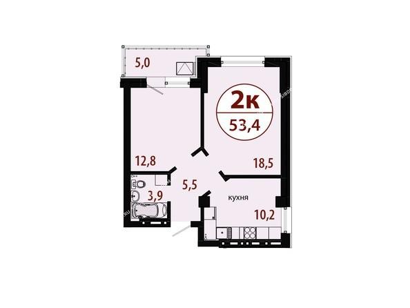 Планировки Жилой комплекс БЕЛЫЕ РОСЫ, дом 25 - Секция 1. Планировка двухкомнатной квартиры 53,4 кв.м