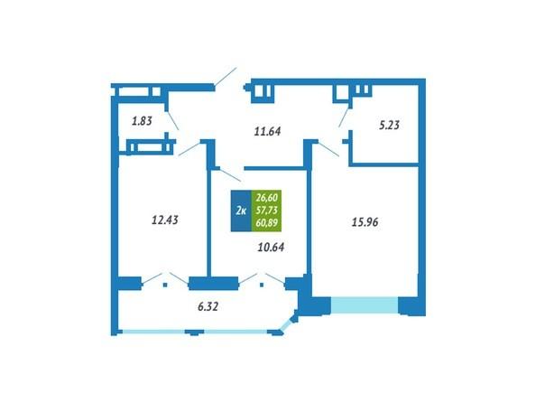 Планировка 2-комнатной квартиры 60,89 кв.м