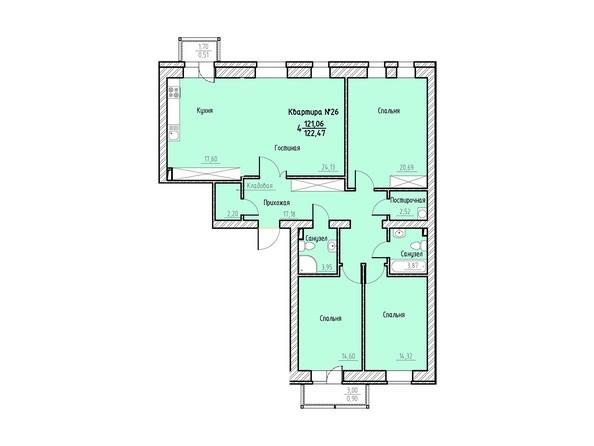 Планировка 4-комн 122,47 м²