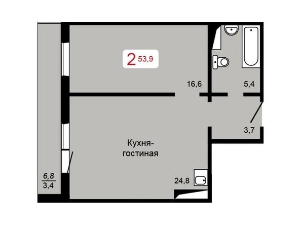 Планировка 2-комн 53,9, 54 м²