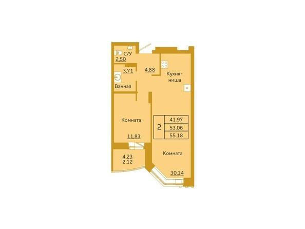 2-комнатная 55,18 кв.м