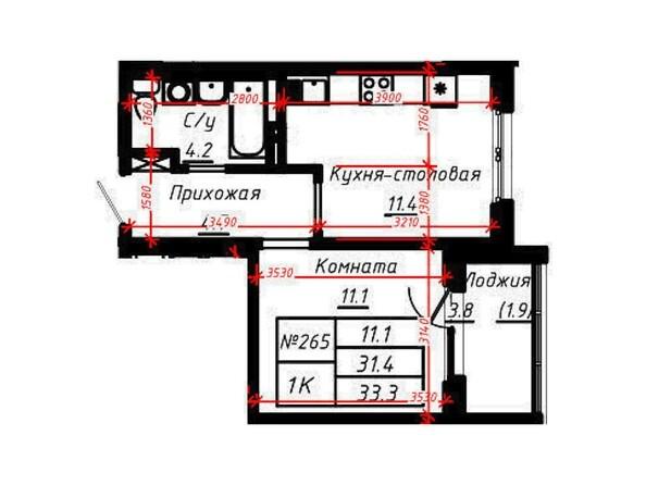 1-комнатная 33,3 кв.м