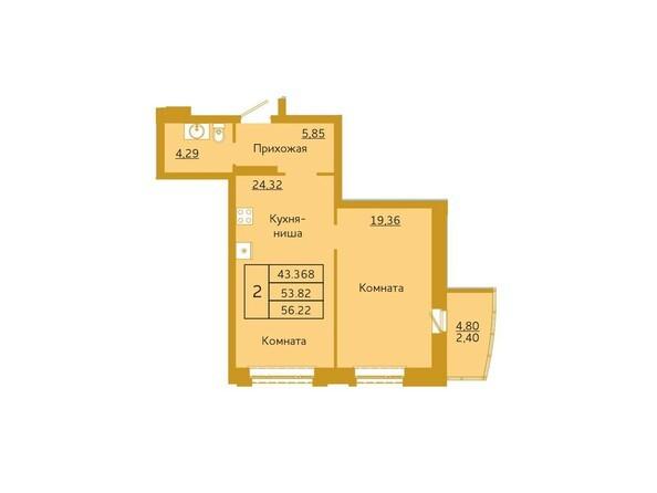 2-комнатная 56,22 кв.м