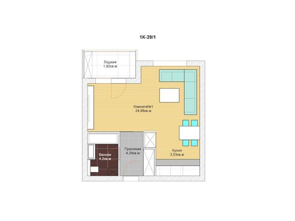 1-комнатная 37; 38 кв.м
