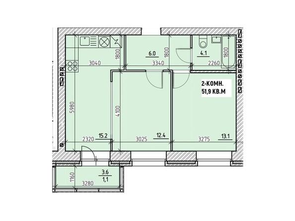 Планировки Жилой комплекс НА ВЫСОТЕ, 1 этап - Планировка двухкомнатной квартиры 51,9 кв.м