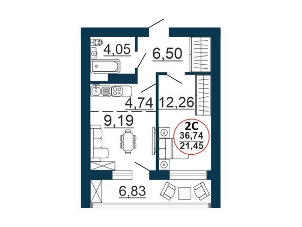 Планировка 2-комн 36,51, 36,74 м²