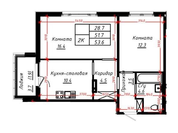 2-комнатная 53,6 кв.м