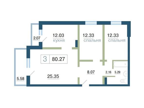 Планировка 3-комн 80,27 м²