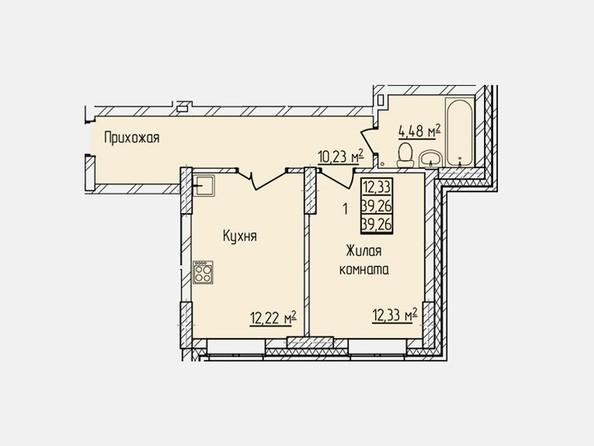 Планировки Жилой комплекс ПРОСВЕЩЕНИЕ - Планировка однокомнатной квартиры 39,26 кв.м
