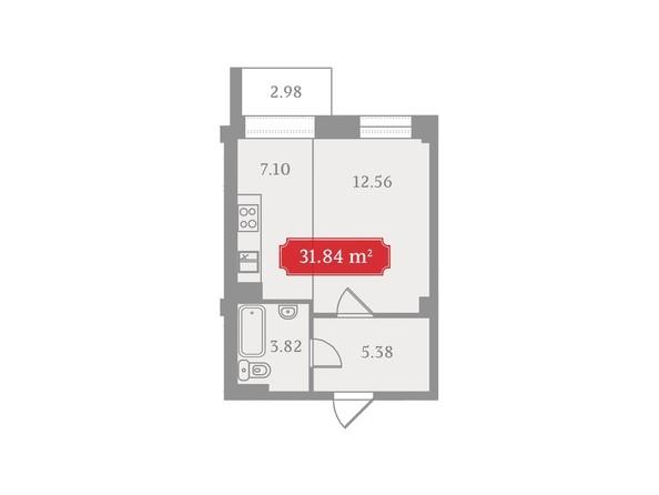 Планировки Жилой комплекс УСПЕНСКИЙ-3, б/с 1  - Планировка однокомнатной квартиры 31,84 кв.м