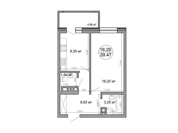 1-комнатная 39,47 кв.м
