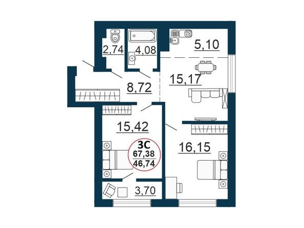 Планировка 3-комн 67,27 - 68,14 м²