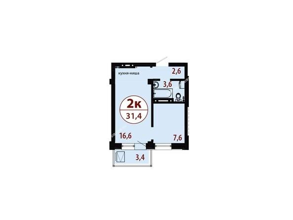 Планировки Жилой комплекс СЕРЕБРЯНЫЙ, квр 1, дом 1 - Секция 1. Планировка двухкомнатной квартиры 31,4 кв.м