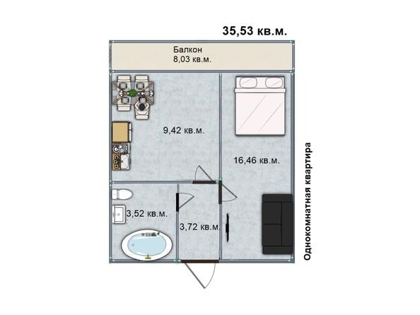 Планировка 1-комн 35,53 м²