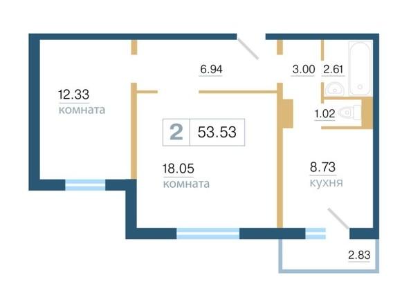 Планировка 2-комн 53,53 м²