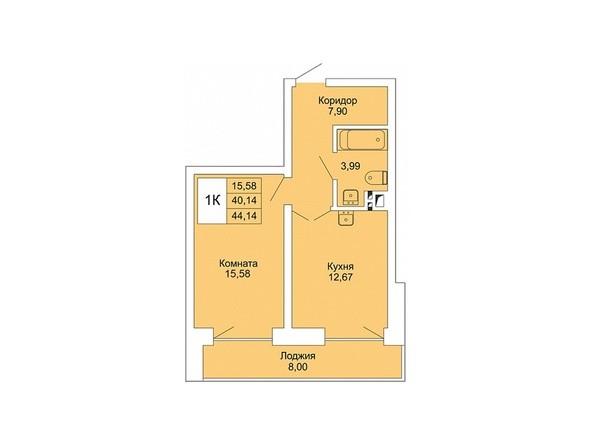Планировки Жилой комплекс РАСЦВЕТАЙ НА МАРКСА, дом 1 - 1-комнатная 44,14 кв.м