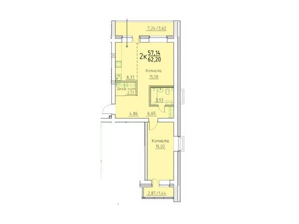 2-комнатная 62.2 кв.м