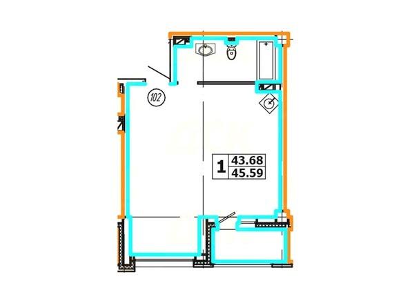 Планировка 1-комнатной квартиры 45,59 кв. м