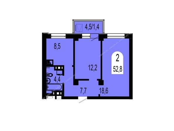 Планировки Жилой комплекс ТИХИЕ ЗОРИ, дом 1 (Красстрой) - Планировка двухкомнатной квартиры 52,8 кв.м