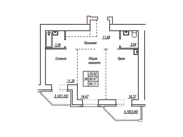 2-комнатная 64.6; 64.11 кв.м