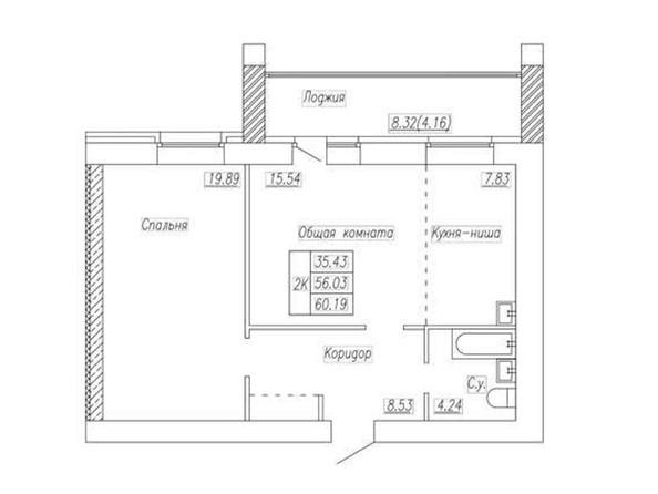 Планировка 2-комн 60,19 м²