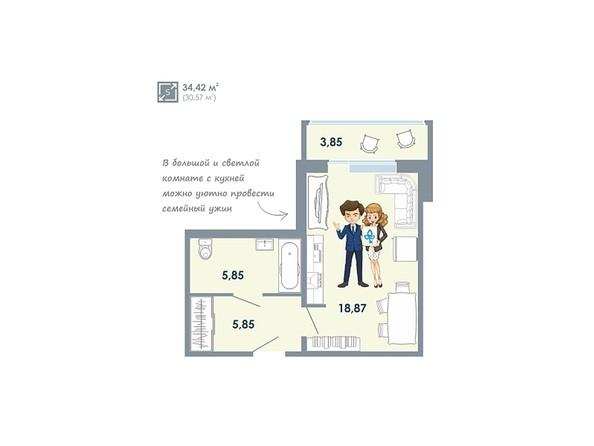 Планировки Жилой комплекс ЧИСТАЯ СЛОБОДА, дом 32 - Планировка однокомнатной квартиры 34,42 кв.м