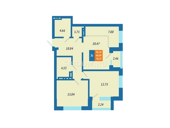 Планировка 3-комн 68, 70,35 м²