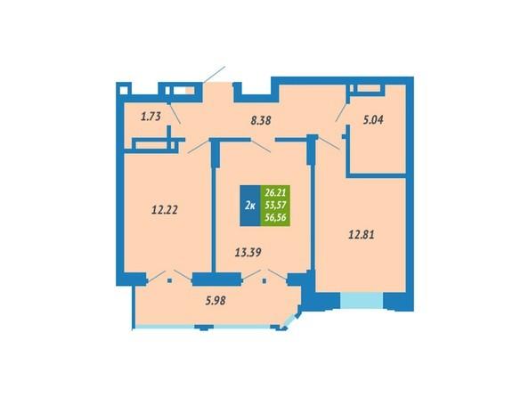 Планировка 2-комнатной квартиры 56,56 кв.м