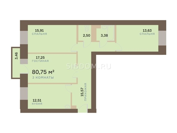Планировка 3-комн 80,75 м²