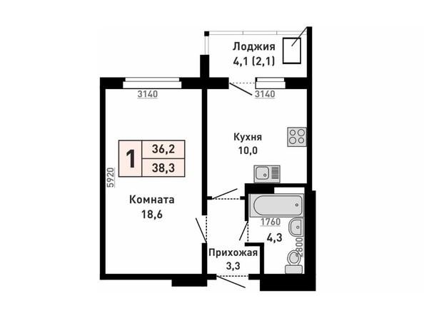 Планировка 1-комн 36,2, 38,3 м²