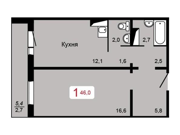 1-комнатная 46 кв.м