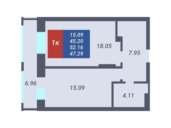 Планировка 1-комн 45,2, 45,4 м²