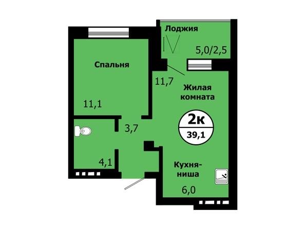 Планировка 2-комн 39, 39,1 м²