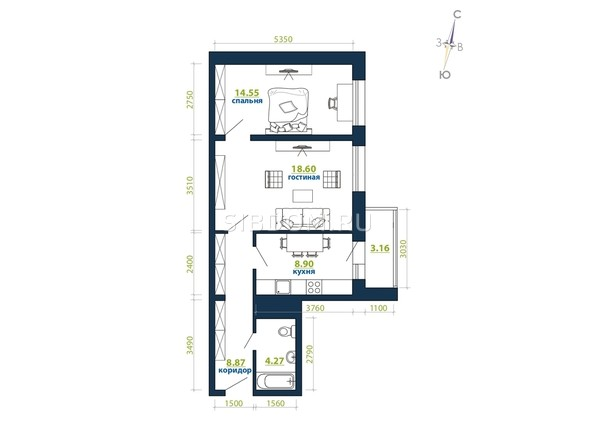 Планировка 2-комн 58,35 м²