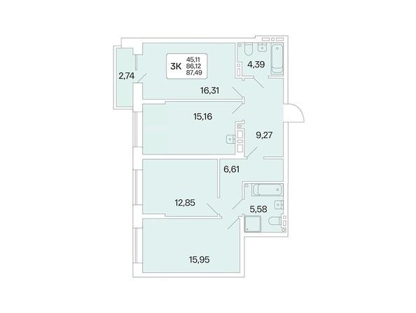 Планировка 3-комн 87,49 м²