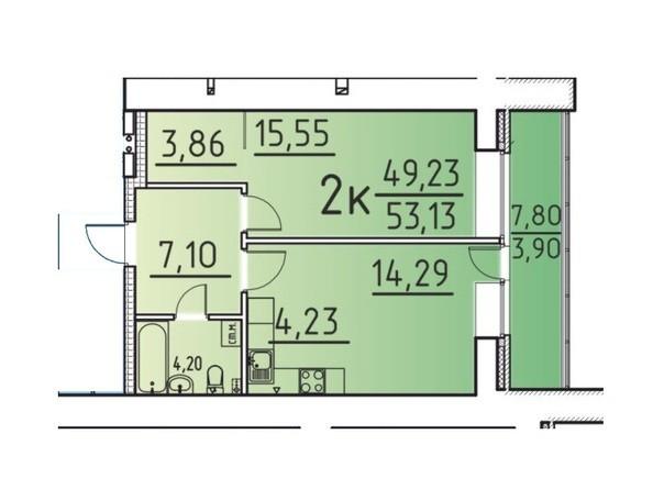Планировка 2-комн 49,23, 53,13 м²