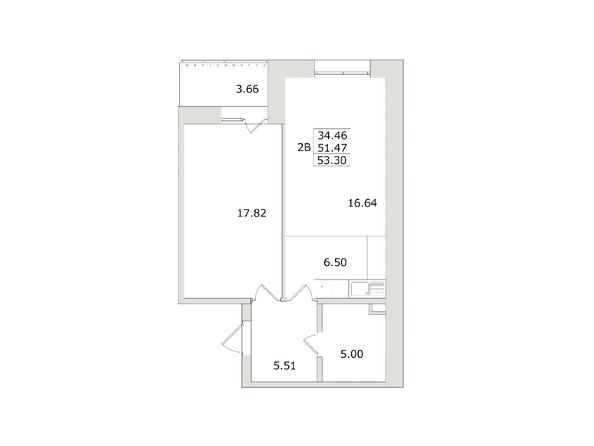 2-комнатная 53,3 кв.м