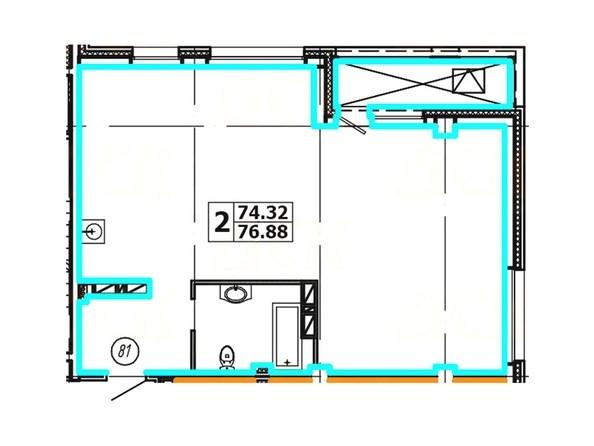 Планировка 2-комнатной квартиры 76,88 кв. м