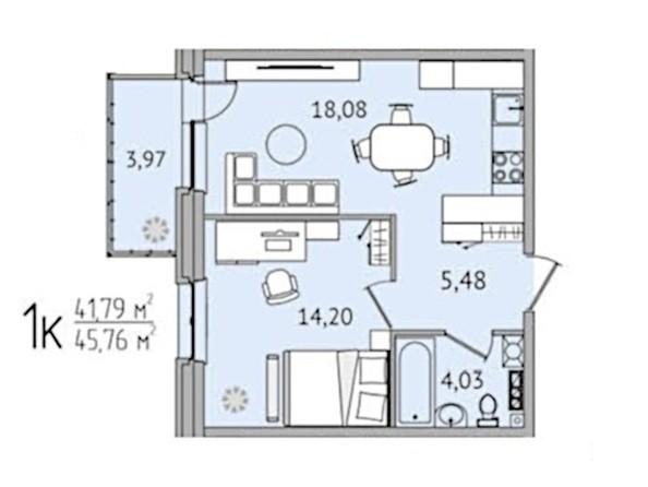 1-комнатная 45,76 кв.м