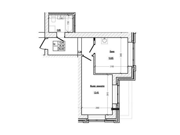 Планировка 1-комн 35,49 м²