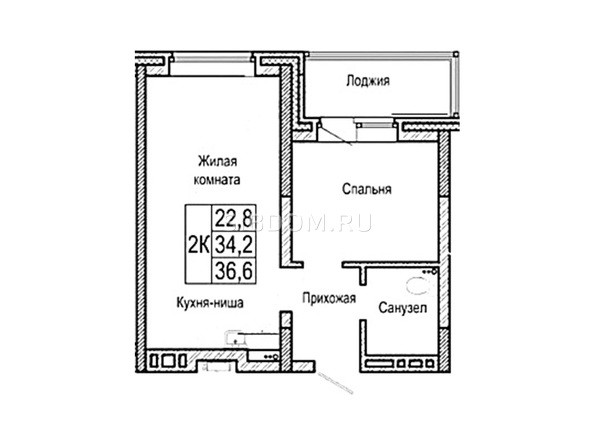Планировка двухкомнатной квартиры 36,6 кв.м